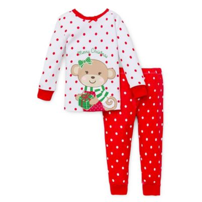 Little Me® Size 18M 2-Piece Christmas Monkey Long-Sleeve Pajama Set in Red