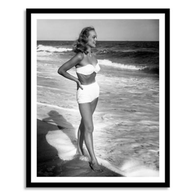 Woman Standing in the Surf Medium Framed Photographic Wall Art