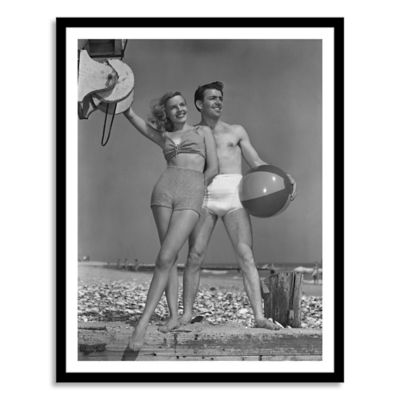 Couple on Beach with Beach Ball Large Photographic Wall Art
