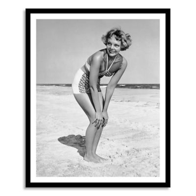 Woman at Beach Posing Large Photographic Wall Art