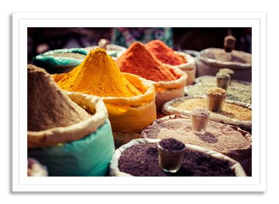 Indian Colored Spices at Local Market Large Framed Photographic Wall Art