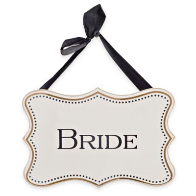 """Bride"" Wood Wall Plaque in White"