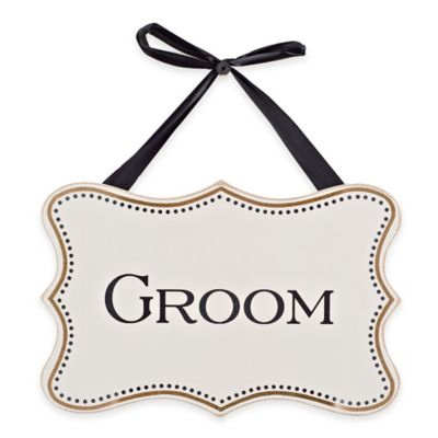 """Groom"" Wood Wall Plaque in White"