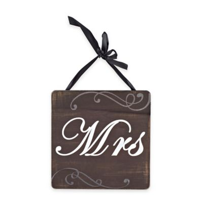 """Mrs."" Square Wood Wall Plaque in Rustic Black Finish"