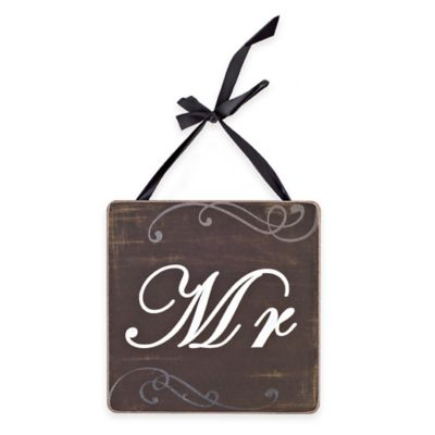 """Mr."" Square Wood Wall Plaque in Rustic Black Finish"