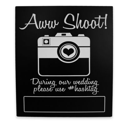 """Aww Shoot!"" Photo Booth Wall Plaque in Black"