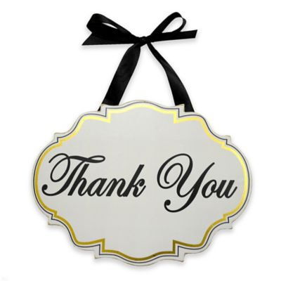 """Thank You"" Wooden Wedding Wall Plaque in White"