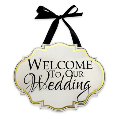 """Welcome To Our Wedding"" Wooden Wall Plaque in White"