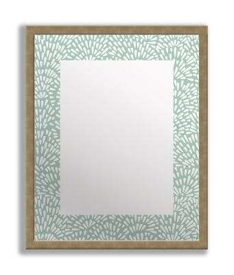 Floral Teal Framed & Printed Mirror Art