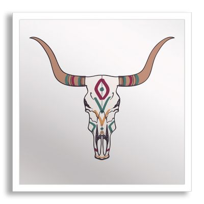 Bull Skull Framed & Printed Mirror Wall Art