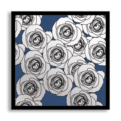 Blue Flourish III Framed & Printed Mirror Wall Art