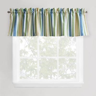 Blue Green Stripe Window Valance