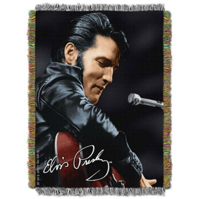 Elvis 68 Leather Sitting Tapestry Throw