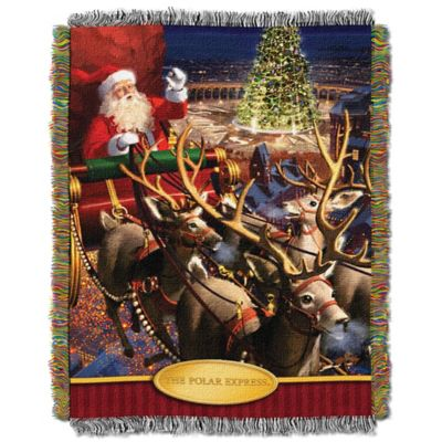 Polar Express Santa Flight Tapestry Throw