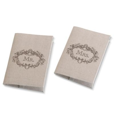 Lillian Rose® Mr. & Mrs. Passport Covers in Tan (Set of 2)