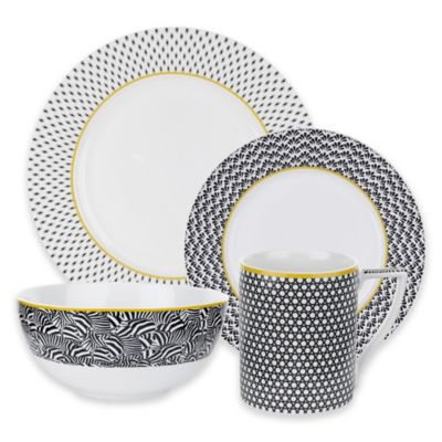 Ted Baker Portmeirion® Casual Collection Langdon 4-Piece Place Setting in Black