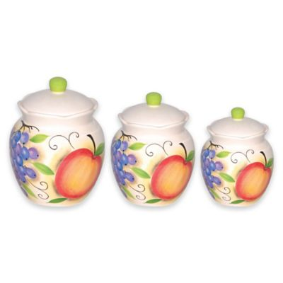 Lorren Home Trends Fruit Design 3-Piece Deluxe Canister Set