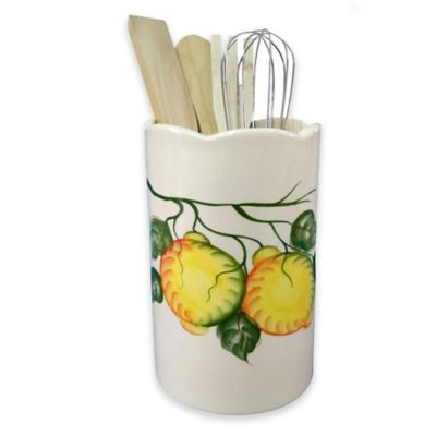 Lorren Home Trends Lemon Design Utensil Crock