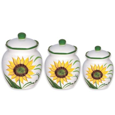 Lorren Home Trends Sunflower Design 3-Piece Deluxe Canister Set