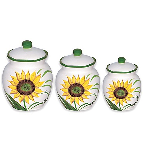 buy lorren home trends sunflower design 3 piece deluxe sunflower rooster turquoise kitchen canister set