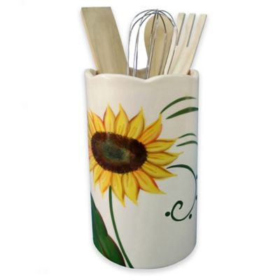 Lorren Home Trends Sunflower Design Utensil Crock