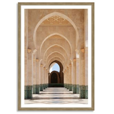 Arcade of Hassan II Mosque Large Vertical Framed Photographic Wall Art