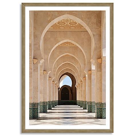 buy arcade of hassan ii mosque extra large vertical framed. Black Bedroom Furniture Sets. Home Design Ideas