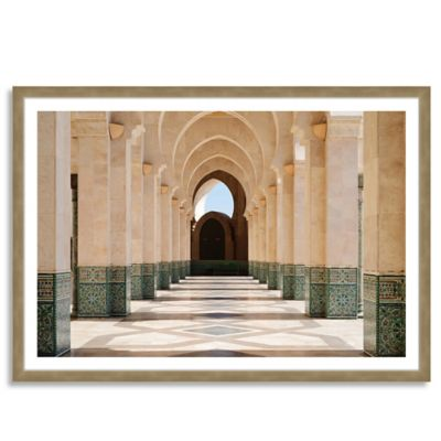 Arcade of Hassan II Mosque Medium Horizontal Framed Photographic Wall Art