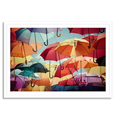 Umbrella Street Large Framed Photographic Wall Art