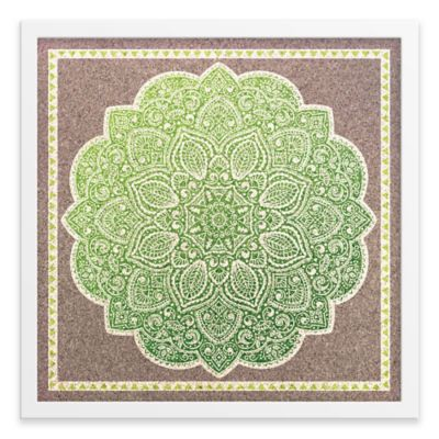 Ornamental Pattern Framed Corkboard in Green
