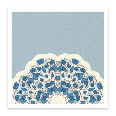 Ornamental Pattern Framed Corkboard in Blue