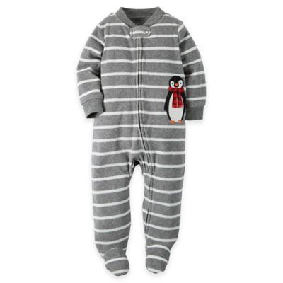 Carter's® Newborn Zip-Front Penguin Stripe Microfleece Footie in Grey/White
