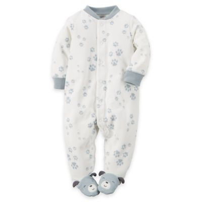 Carter's® Size 6M Snap-Front Paw Prints Microfleece Footie in Light Blue/White
