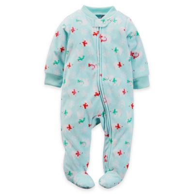 Carter's® Size 6M Zip-Front Polar Bear Microfleece Footie in Turquoise/Red