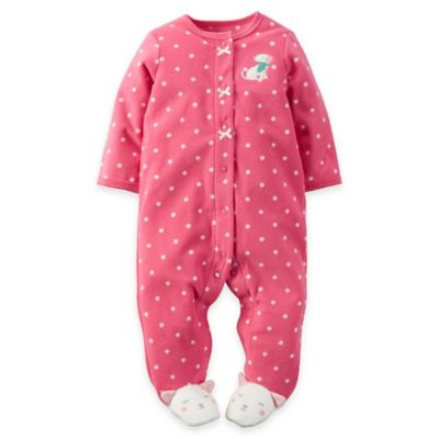 Carter's® Newborn Snap-Front Microfleece Dot Dog Footie in Pink