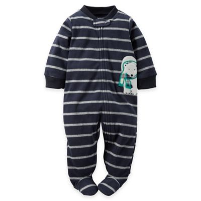 Carter's® Size 9M Zip-Front Polar Bear Striped Microfleece Footie in Navy/Grey