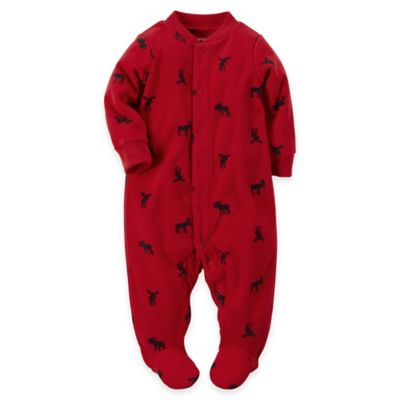 Carter's® Size 6M Snap-Front Moose Microfleece Footie in Red/Black