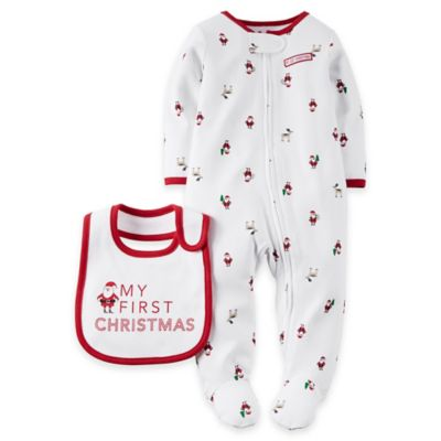 """Carter's® Newborn 2-Piece """"My First Christmas"""" Footie and Bib Set in Red/White"""