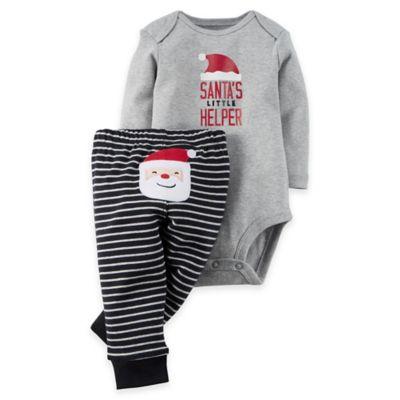 """carter's® Size 3M 2-Piece """"Santa's Little Helper"""" Bodysuit and Pant Set"""