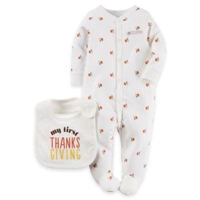 "Carter's® Size 3M 2-Piece ""My First Thanksgiving"" Footie and Bib Set in Ivory"