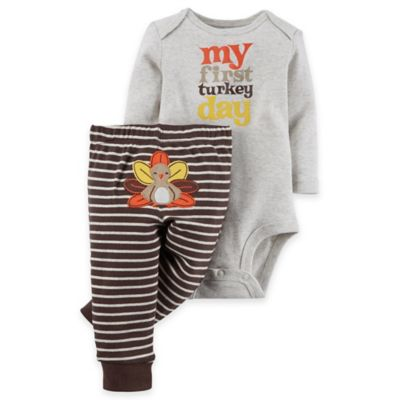 "Carter's® Size 6M 2-Piece""My First Turkey Day"" Bodysuit and Pant Set in Brown"