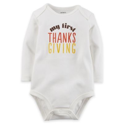 "carter's® Newborn ""My First Thanksgiving"" Long Sleeve Bodysuit in Ivory"
