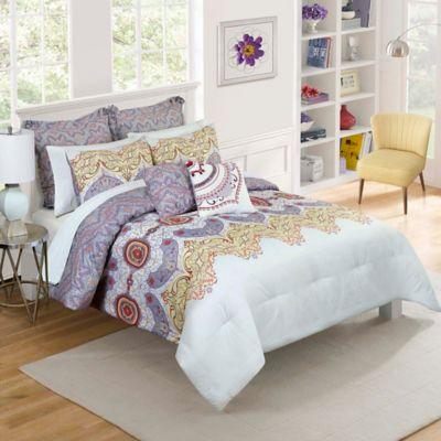 Vue® Cordova Reversible Full/Queen Comforter Set in Plum