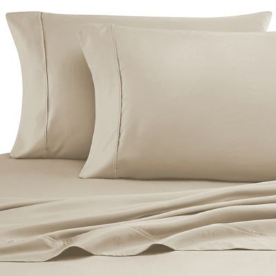 Cotton Rich 600-Thread-Count King Sheet Set in Taupe/White (Set of 2)