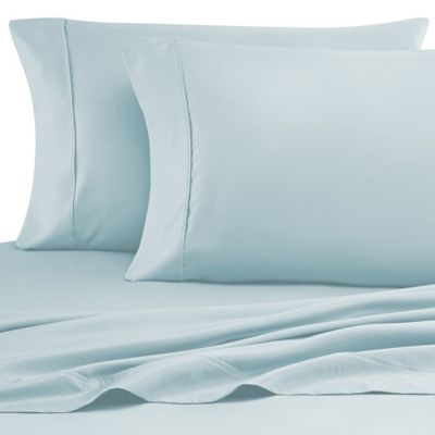 Cotton Rich 600-Thread-Count King Sheet Set in Sky/White (Set of 2)