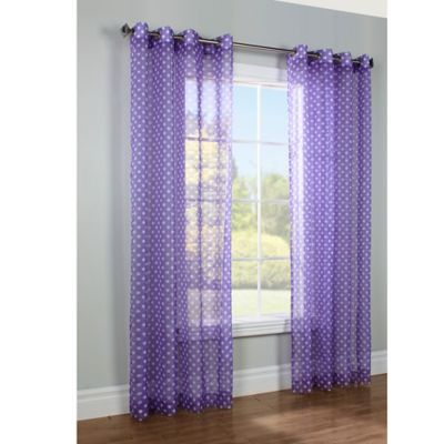 Commonwealth Home Fashions Dots 63-Inch Window Curtain Panel in Purple