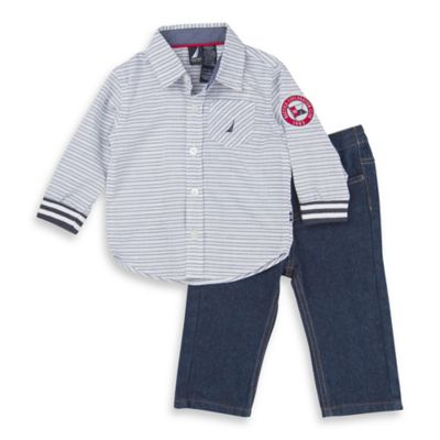 Nautica Kids® Size 12M 2-Piece Knit Long-Sleeve Shirt and Denim Pant Set in White/Blue