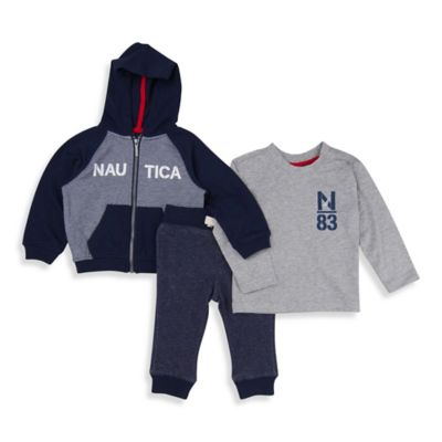 "Nautica Kids® Size 0-3M 3-Piece ""Nautica"" French Terry Jacket and Pant Set in Navy"