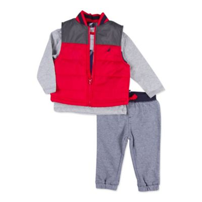 Nautica Kids® Size 2T 3-Piece Puffer Vest, Shirt, and Pant Set in Red/Grey