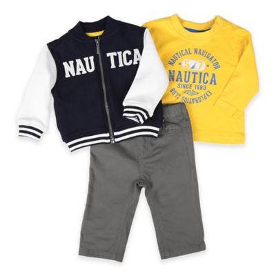 Nautica Kids® Size 0-3M 3-Piece Fleece Baseball Jacket, Shirt, and Pant Set in Navy/Yellow